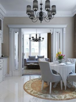 Luxury kitchen dining neoclassic style, 3d images